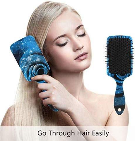 ソープフラワー 青バラ エアバッグくし エアクッションコーム ヘアブラシ マッサージくし ヘアブラシ くし ヘアケア 美髪ケア 静電気防止 頭皮マッサージ 髪絡まない ヘア保護 血行促進 疲れ解消 艶髪