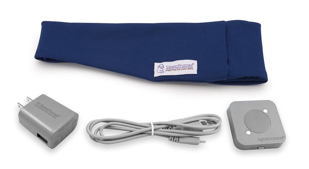 AcousticSheep SleepPhones Effortless   Bluetooth Headphones for Sleep, Travel & More Flat Speakers   No-Fuss Rechargeable Battery   Royal Blue - Breeze Fabric (Size M)