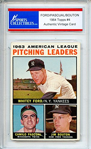 Whitey Ford - Pascual - Bouton Authentic 1964 Topps New York Yankees Baseball Card - Certified Authentic (Baseball Ford Whitey)