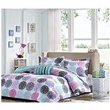 1 X Full/queen Reversible Comforter Set Pink Teal Purple Bedding Teen Girls Pillows by Mi-Zone