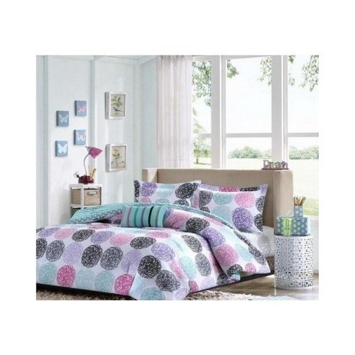Reversible Comforter Set Pink Teal Purple Bedding Teen Girls