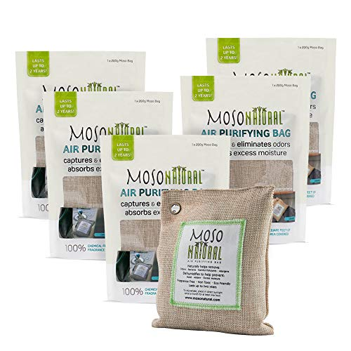 MOSO NATURAL Air Purifying Bag 5 Pack. Bamboo Charcoal Air Freshener, Deodorizer, Odor Eliminator, Odor Absorber for Cars and Closets. 200g Natural Color