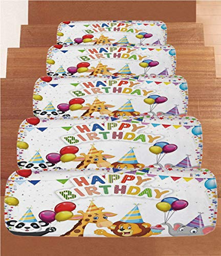 iPrint Non-Slip Carpets Stair Treads,Birthday Decorations for Kids,Cartoon Safari Animals at a Party with Flags Balloons Image,Multicolor,(Set of 5) 8.6''x27.5'' by iPrint