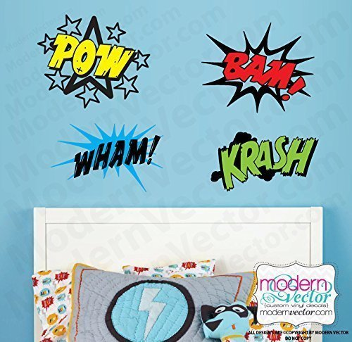 Comic Book Word Splats Bubbles Vinyl Wall Decal ()