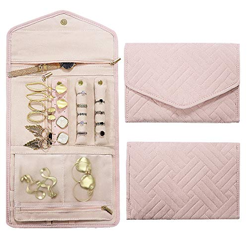 Rixfit Travel Jewellery Organizer Roll Foldable Jewelry Storage Bag Organizer for Journey-Rings, Necklaces, Bracelets, Earrings,Brooches and More(Pink)