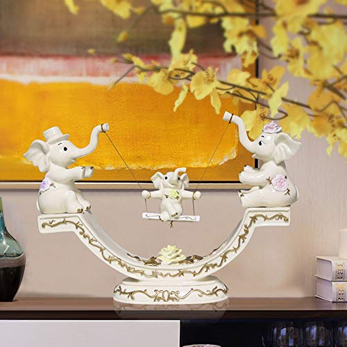 MQW Swing Like an Animal Ornaments 38 9 25cm White European and American Handmade Art Resin Crafts Home Decor Gifts Children's Room Delicate and Beautiful (Porch Dimensions Swing)