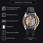 Caluxe Luxury Men Automatic Mechanical Skeleton Watch Genuine Leather Band Steampunk 3D Design 8