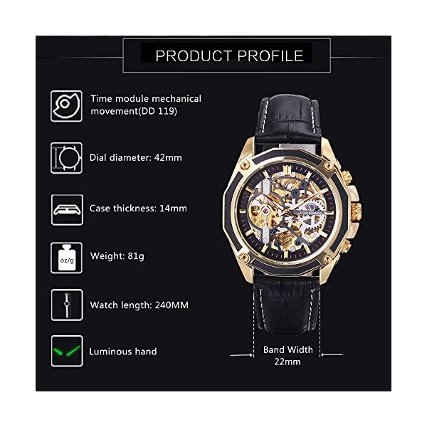 Caluxe Luxury Men Automatic Mechanical Skeleton Watch Genuine Leather Band Steampunk 3D Design 5