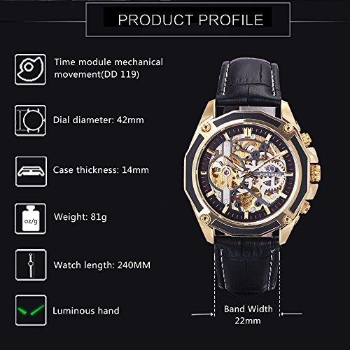 Caluxe Luxury Men Automatic Mechanical Watch Genuine Leather Band Skeleton Design Punk Wristwatch(BLACK-BLACK)