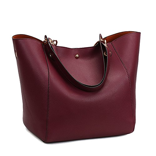 Leather Tote Handbags, Fashion Waterproof Shoulder Bag Women Leather Handbags Large Tote Purse (Red (Fire Red Wine)