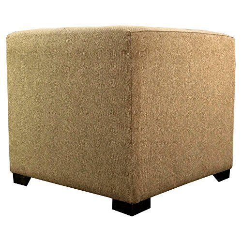 MJL Furniture Designs Merton Collection, Fabric Upholstered Modern Cube Foot Rest Ottoman with 4 Button Tufting, Allure Series, Pebble by MJL Furniture Designs