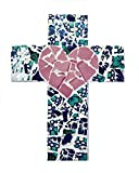 Mexican Tile Talavera Wall Cross 9 inch X 6 inch Handcrafted Mosaic Ivory Heart Mexican Ceramic tile, Mosaic Decorative Cross