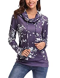 Baby Room Women Long Sleeve Sweatshirt - Casual Cowl Neck Floral Tunic Tops