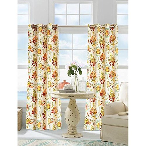 1 Piece 96 Inch Multi Color Gazebo Curtain Single Panel, Orange Red Grey Color Floral Pattern Rugby Colors Outside, Outdoor Pergola Drapes Porch Deck Cabana Patio Screen Entrance Sunroom Lanai