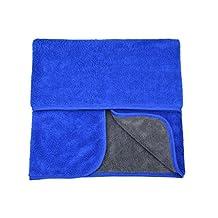 HOPESHINE Microfibre Car Cleaning Cloths Buffing Wax Polish Towels Thick Car Wash Auto Detailing Towel (20inch X28inch, Dark Blue-grey)