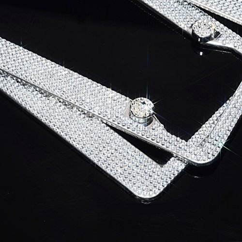 (H C Hippo Creation 2 Pack Handcrafted Bling Crystal Premium Stainless Steel License Plate Frame (Crystal))