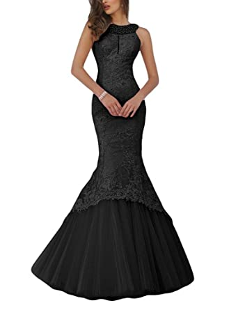 4759af57db5f Promworld Women's Mermaid Lace Evening Gowns Halter Key Hole Beaded Long  Prom Dress Black US2