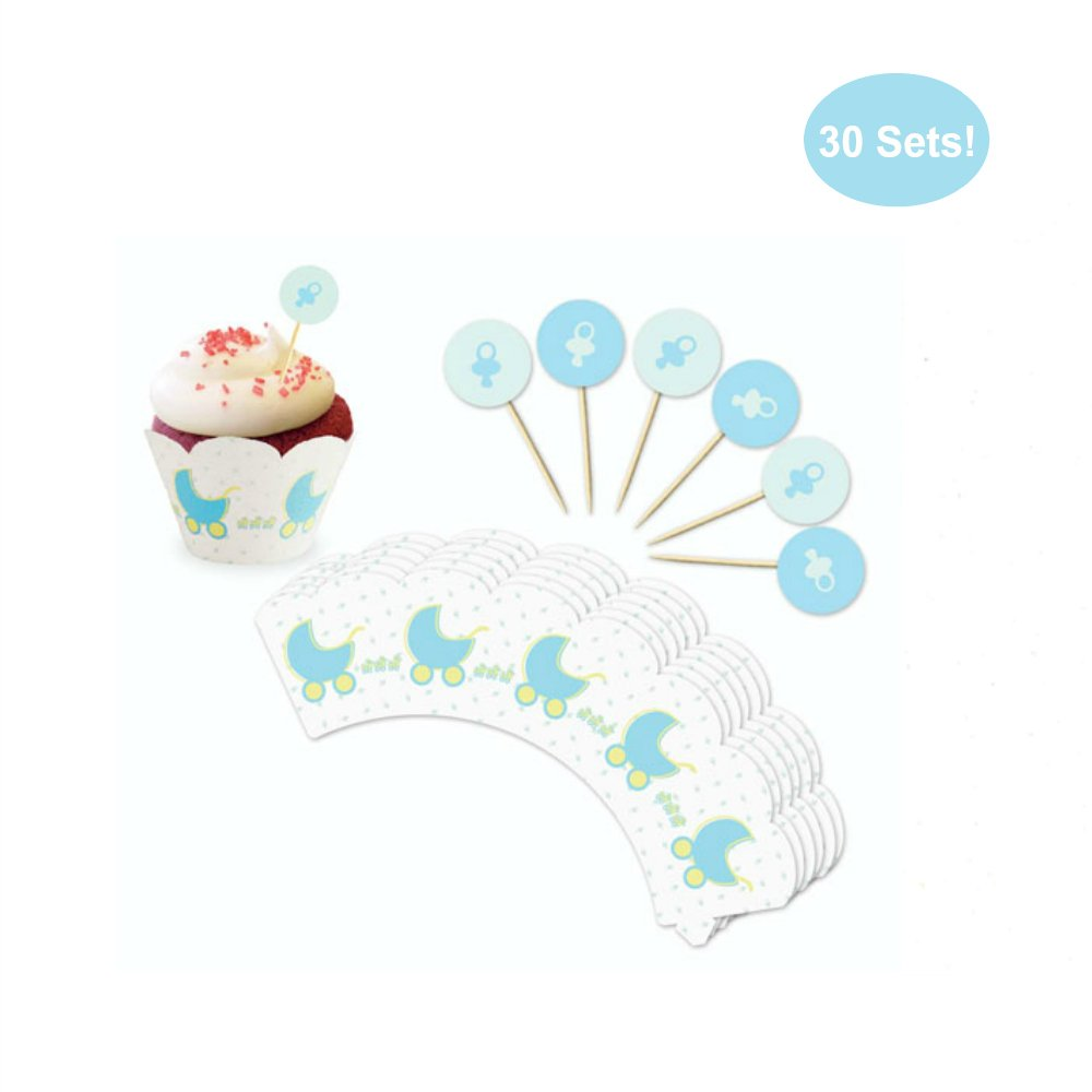 Cupcake Toppers and Wrappers for Boy Baby Shower – Blue Stroller Pacifier Topper Picks And Wrappers – Super Cute Boy Baby Shower Decoration – NO Assembly Required – Set of 30 (Boy Baby Shower)