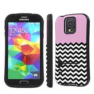 NakedShield Samsung Galaxy S5 Pink Chevron Heavy Duty Shock Proof Armor Art KickStand Phone Case