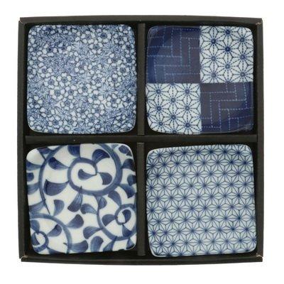 (Kotobuki Blue and White Small Square Plate Set 3.5