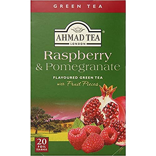 Ahmad Raspberry & Pomegranate Flavoured Green Tea with Fruit Pieces 20 Bags