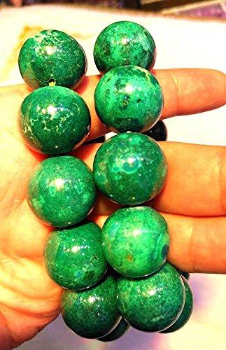 A+ 16mm Genuine Phoenix Gemstone Green Smooth Bead,8inch Bracelet,large gem bead by daybeads (Image #1)