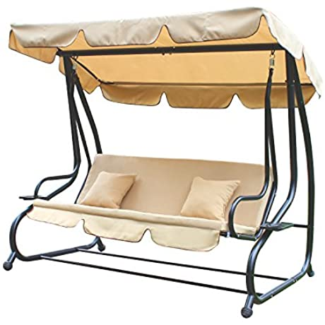 Adeco Canopy Awning Porch Swings Bench Chair Outdoor Beige1