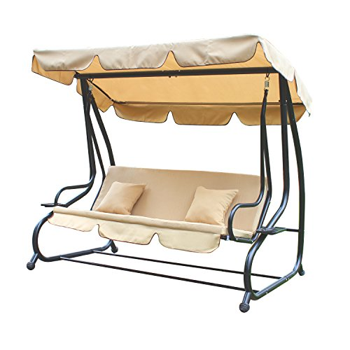Adeco Canopy Awning Porch Swings Bench Chair, Outdoor (Beige1) For Sale