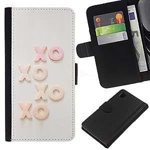 KingStore / Leather Etui en cuir / Sony Xperia Z1 L39 / Xo Besos texto Sweet Love Sweetheart