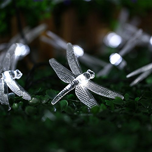 Allytech Outdoor Dragonfly Solar String Lights, 20LED 16ft Waterproof Fairy Lighting for Christmas Trees, Garden, Patio, Fence, Wedding, Party and Holiday Decorations (White)