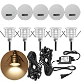 FVTLED Pack of 10 Low Voltage LED Deck Light Kit Φ1.33 Waterproof Outdoor Step Stairs Garden Yard Patio Landscape Decoration Lamps LED In-ground Lights Warm White Lamp