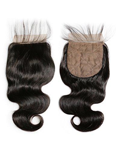Slove Hair Silk Base Closure,4X4 Silk Closure Human Hair Body Wave For Black Women Bleached Knots Lace Closure Natural Color Free Part 12 Inches