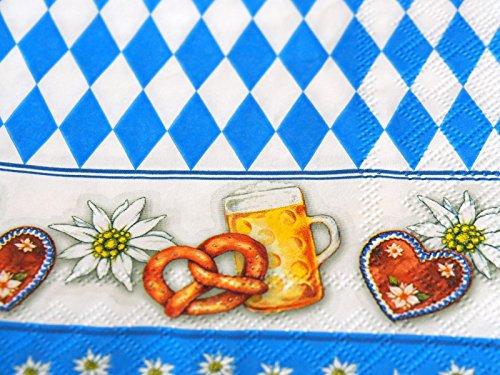 Unbekannt 20 Servietten Oktoberfest Bayrisch Blau Rauten Tischdeko