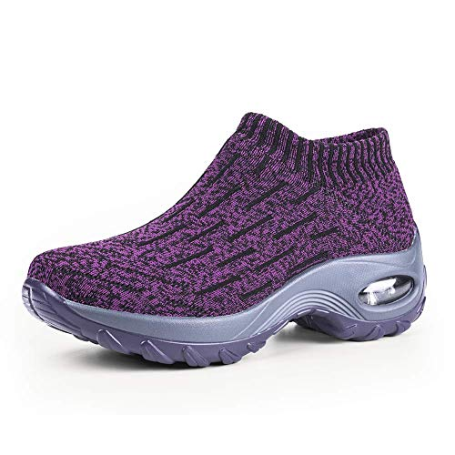 Women's Slip on Walking Shoes - Mesh Breathable Air Cushion Work Nursing Shoes Easy Casual Sneakers Stripe Purple