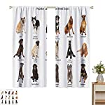 hengshu Dog Lover Decor Collection Blackout Shades Curtains Group of Large Breed Dogs Together Bullmastiff Alaskan Akita Bernese for Window Curtains Valances W52 x L45 Inch Beige Brown Black 7