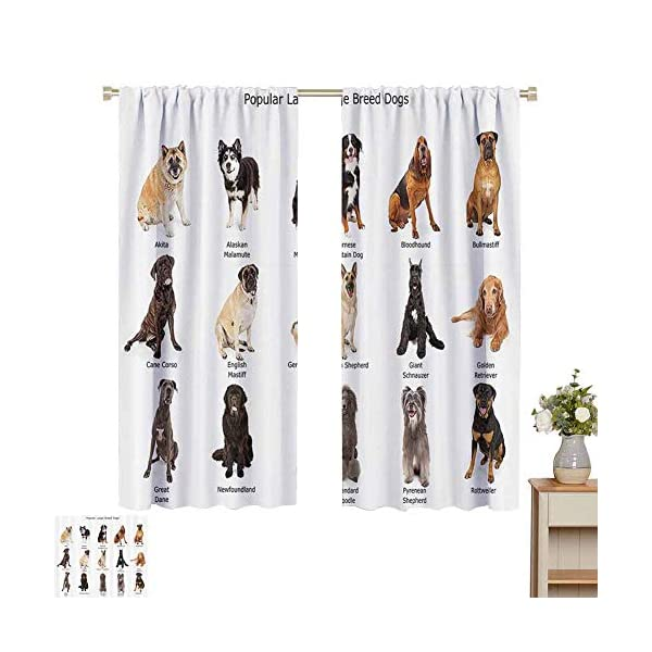 hengshu Dog Lover Decor Collection Blackout Shades Curtains Group of Large Breed Dogs Together Bullmastiff Alaskan Akita Bernese for Window Curtains Valances W52 x L45 Inch Beige Brown Black 1