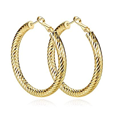 Yumay 10K Yellow Gold Plated Large Hoop Earrings for Women,50MM Diamond Style Hoop Earrings for girls. for cheap