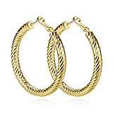 Yumay 10K Yellow Gold Plated Large Hoop Earrings for Women,50MM Diamond Style Hoop Earrings for girls.
