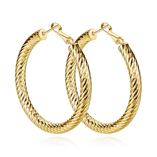 Yumay 10K Yellow Gold Plated Large Hoop Earrings for Women,50MM Diamond Style Hoop Earrings for ()