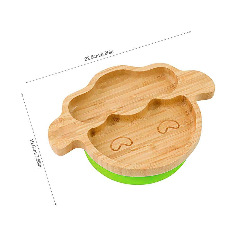 Szseven Baby Bamboo Succi/ón Taz/ón Y Cuchara A Juego Silicona Linda Caricatura De Cordero Ensalada Set De Patata Taz/ón De Alimentaci/ón Chupar Juego De Cuchara