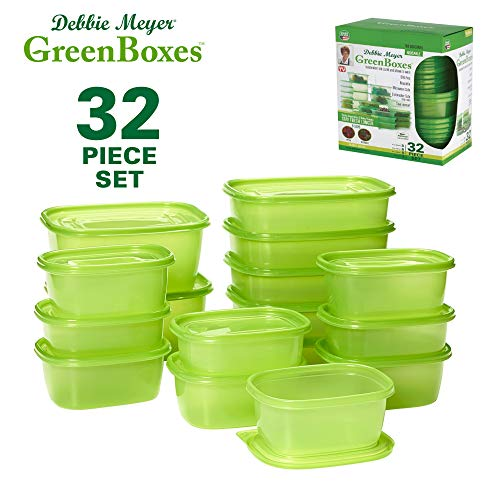 (Debbie Meyer GreenBoxes, Food Storage Containers with Lids, Keep Fruits, Vegetables, Baked Goods & Snacks Fresher Longer! BPA Free, Microwave & Dishwasher Safe- 32 Piece Set )