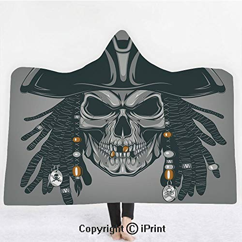 "(Pirate 3D Print Soft Hooded Blanket Boys Girls Premium Throw Blanket,Cruel Evil Dead Man Skull Corsair with Rasta Hair and Iconic Hat Filibuster Decorative,Lightweight Microfiber(Kids 50""x60"")Grey)"