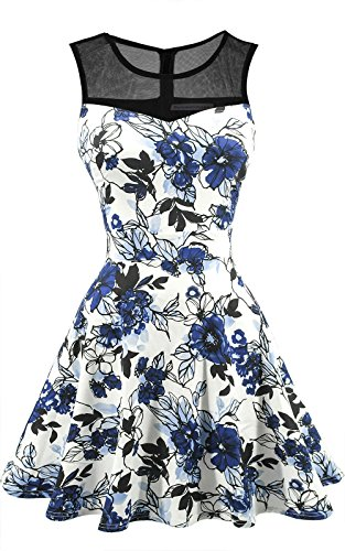 Sylvestidoso Women's A-Line Pleated Sleeveless Little Cocktail Party Dress Black Mesh Blue Flowers (XS, Black)]()