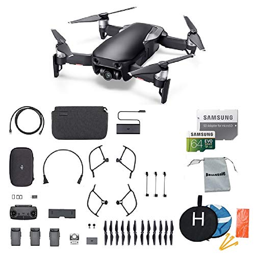 DJI Mavic Air Fly More Combo (Onyx Black) Portable Quadcopter Drone 2018 Version Bundle with Additional Accessories ()