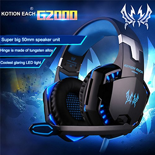 519Uklw8b4L - KOTION EACH G2000 Over-ear Game Gaming Headphone Headset Earphone Headband with Mic Stereo Bass LED Light for PC Game (Blue)