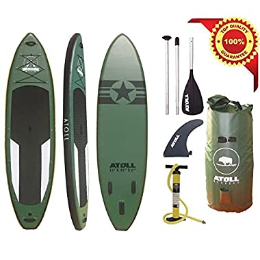 Atoll 11'0  Foot Inflatable Stand up Paddle Board, (6 Inches Thick ) Isup, Bravo Hand Pump and 3 Piece Paddle, Travel Backpack