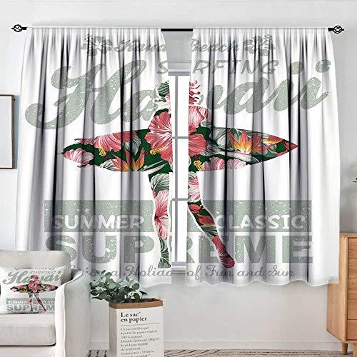Elliot Dorothy Rod Pocket Curtains Hawaiian,Tropical Hawaii Hibiscus Surfing Girl Silhouette Surfboard Retro Themed Artprint,Coral Green,Insulating Room Darkening Blackout Drapes for Bedroom 63