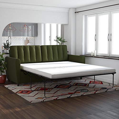 (Novogratz Brittany Sleeper Sofa with Memory Foam Mattress, Green Linen, Queen)