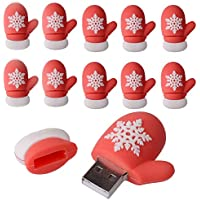 (Bulk 10 Pack) LHN® 8GB Christmas Glove USB 2.0 Flash Drive (Red)
