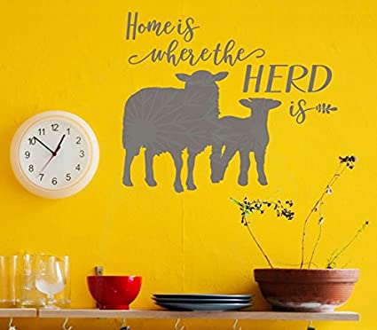 Amazon.com: Wall Décor Plus More Home Is Where the Herd Is Sheep ...